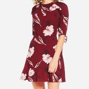BP A-line Mini Floral Dress in Burgundy Size Large